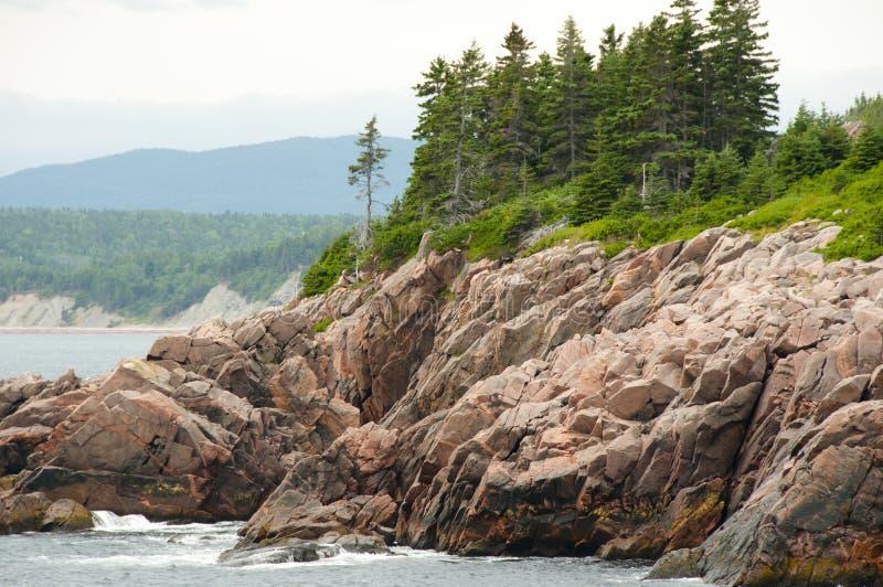 在东部Cabot足迹-新斯科舍的被暴露的花岗岩 免版税库存照片