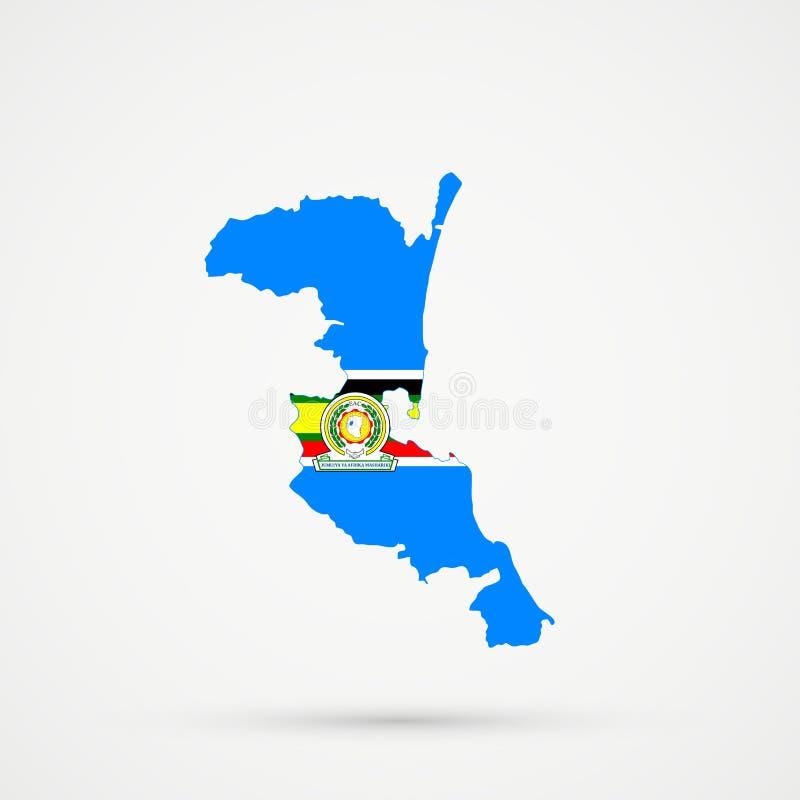 在东非共同市场EAC旗子颜色的Kumykia达吉斯坦地图,编辑可能的传染媒介 库存例证