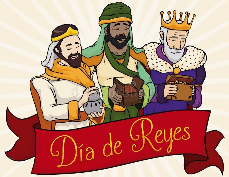 在丝带后的圣经的三个魔术家西班牙` Dia de雷耶斯`的,传染媒介例证 库存例证