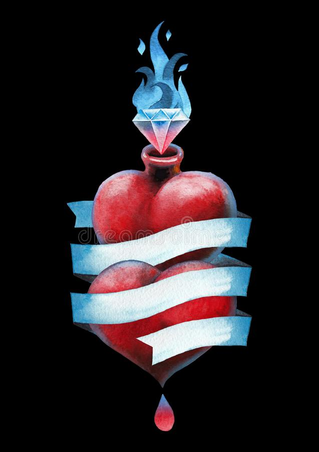 在丝带和宝石包裹的水彩心脏 向量例证