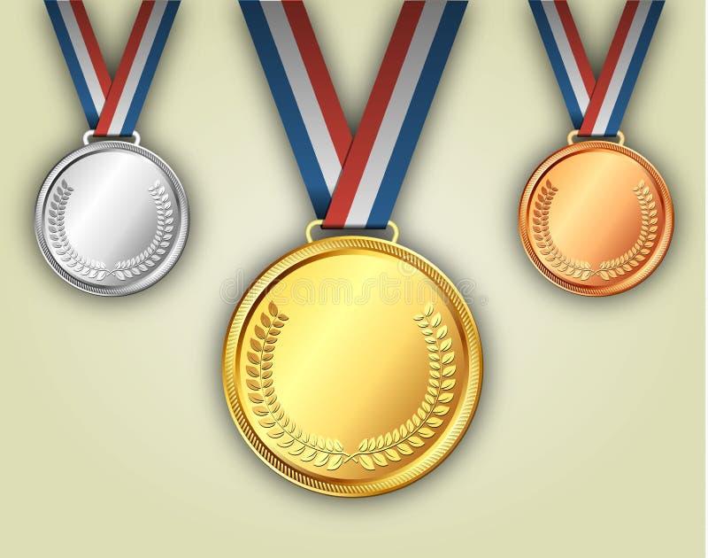 在丝带的金银和铜牌 向量例证