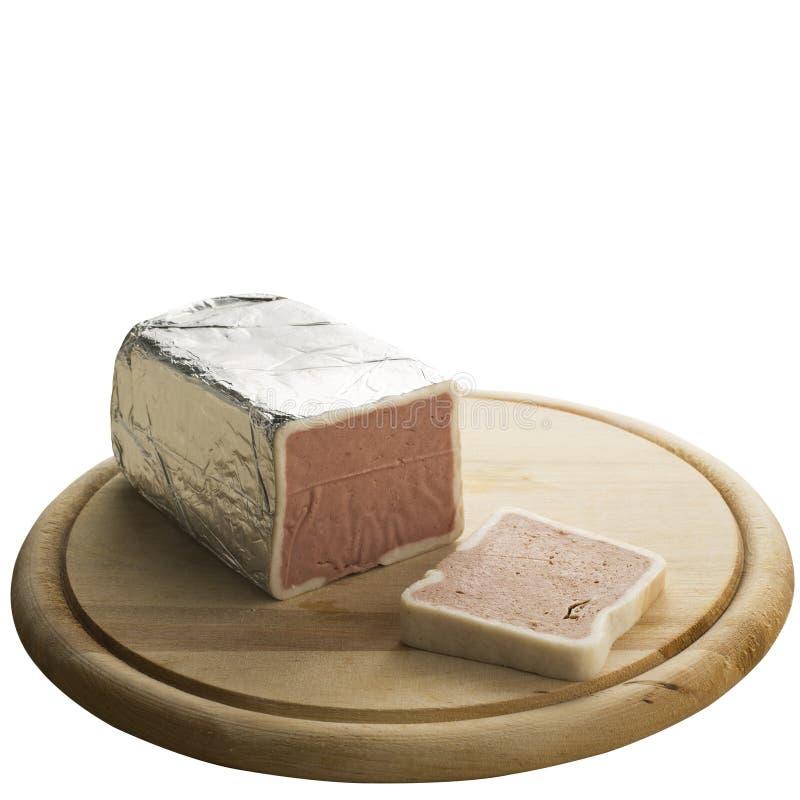 在丝毫背景隔绝的肝脏乳酪 免版税库存图片