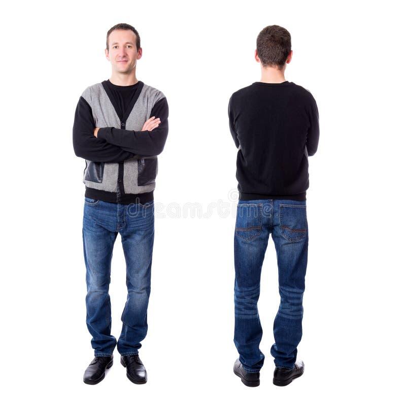 在丝毫隔绝的前面和后面观点的英俊的中部年迈的人 免版税库存照片