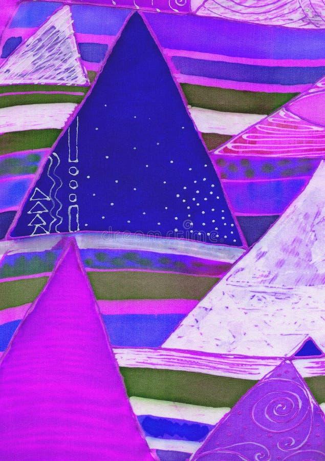 在丝绸的抽象几何样式 蜡染布,装饰构成,水彩 使用铅印材料,标志,项目,网站,地图 库存例证