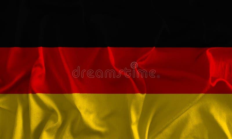 在丝绸背景的德国旗子 皇族释放例证