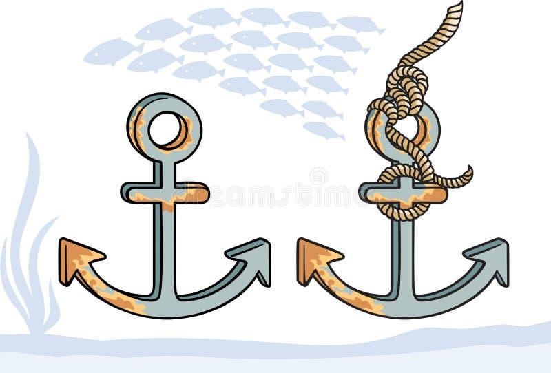 在两个变形的船锚 免版税库存图片