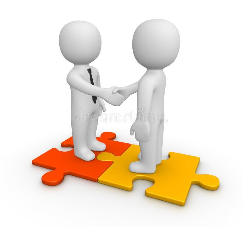 在两个商人之间的握手在难题片断 皇族释放例证