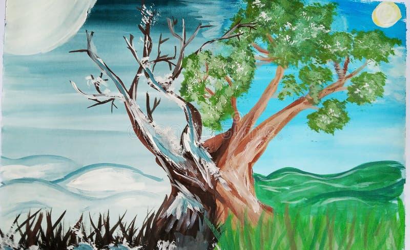 在两个季节的树 库存图片