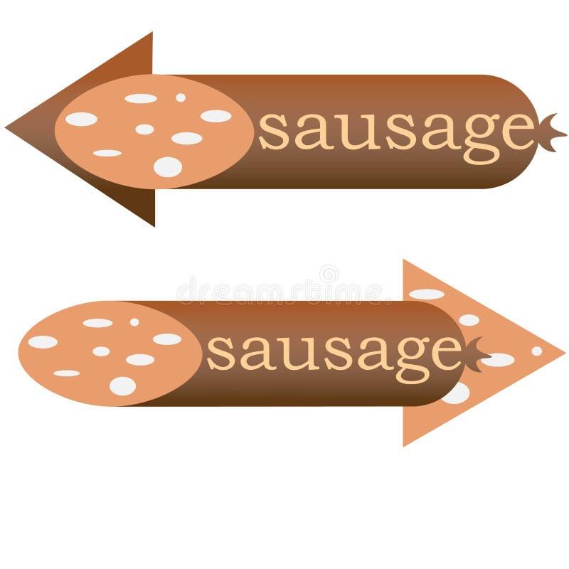 在两个方向的香肠箭头的商店或餐馆 向量例证