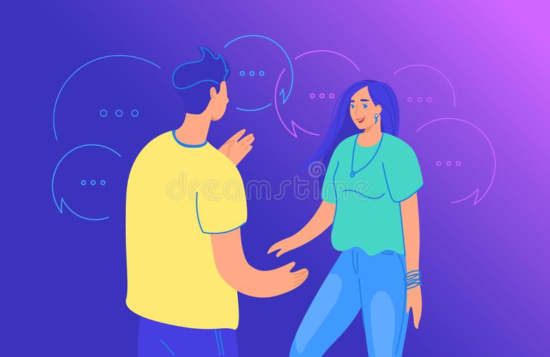 在两个朋友梯度一起站立和谈论某事的年轻人的传染媒介例证的之间生活交谈 向量例证