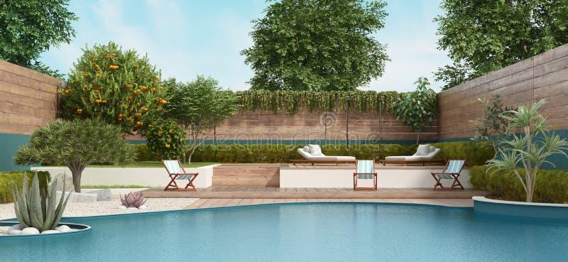 在两个水平上的庭院与大水池和豪华的植被 皇族释放例证