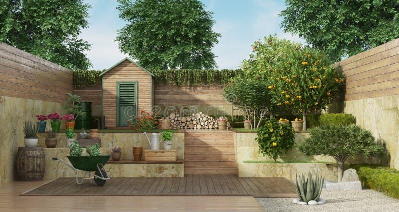 在两个水平上的庭院与木棚子和果树 库存例证