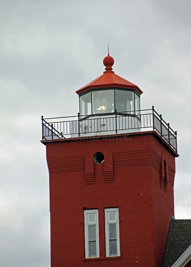 在两个港口的灯塔 免版税库存图片