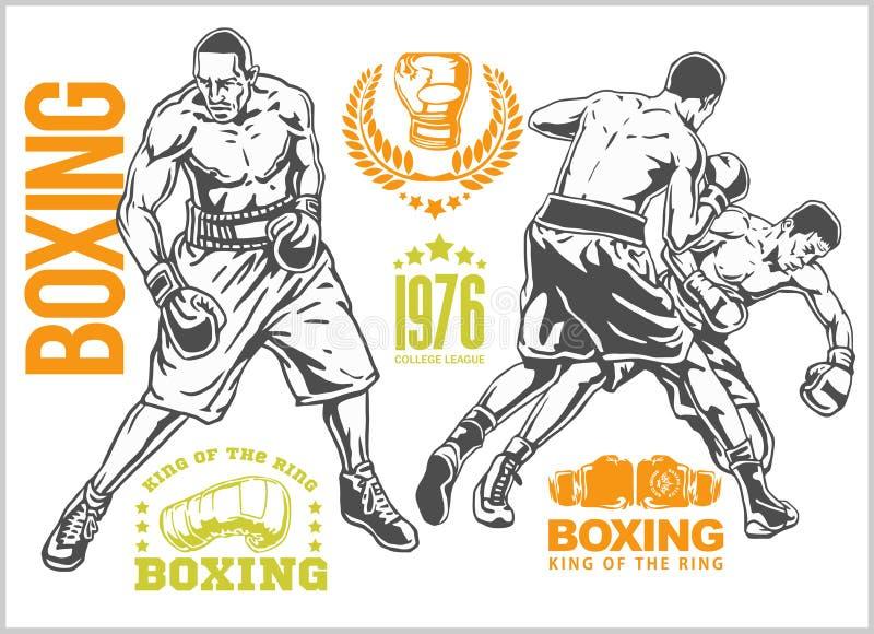 在两位拳击手之间的战斗-套单色例证 正葡萄酒拳击象征,标签,徽章,商标和 向量例证