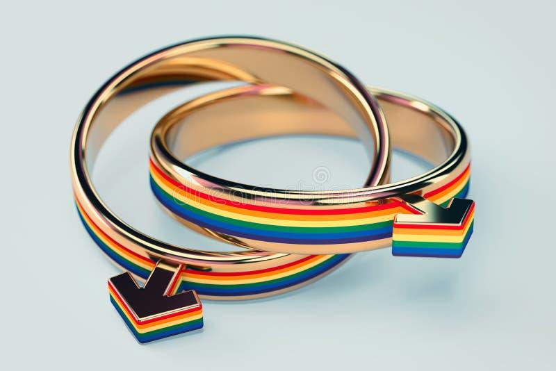 在两快乐男性结婚戒指的接近的射击在淡色绿色背景连接了一起隔绝 同性恋婚姻概念 3d 向量例证