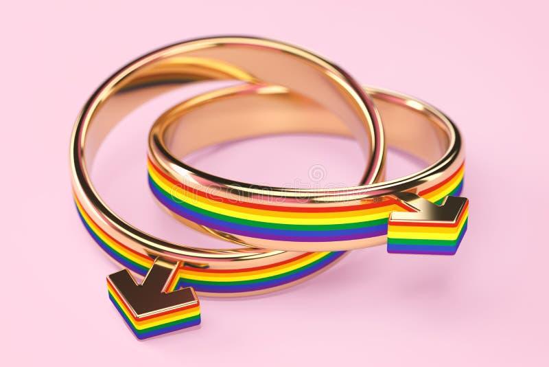 在两快乐男性结婚戒指的接近的射击在粉红彩笔背景连接了一起隔绝 同性恋婚姻概念 3d 向量例证