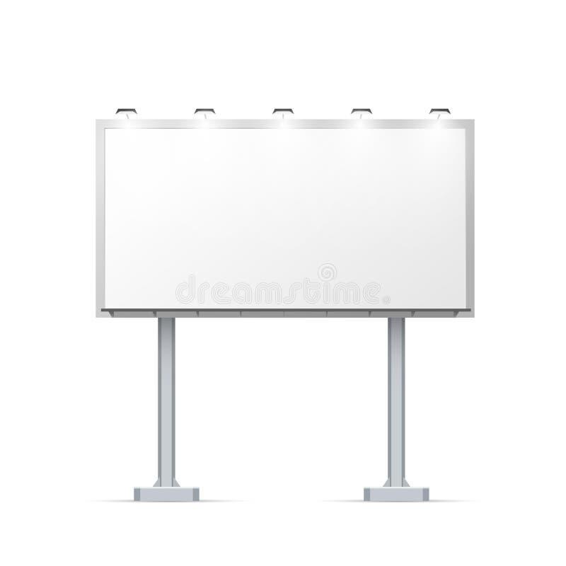 在两根柱子的室外广告牌与做广告的地方和与照明设备白色的 库存例证