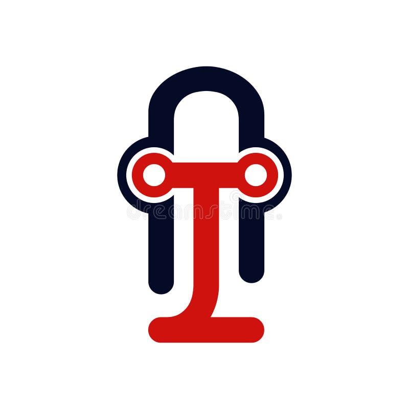 在两种颜色的变异的优质传染媒介T商标 美丽的Logotyp 向量例证
