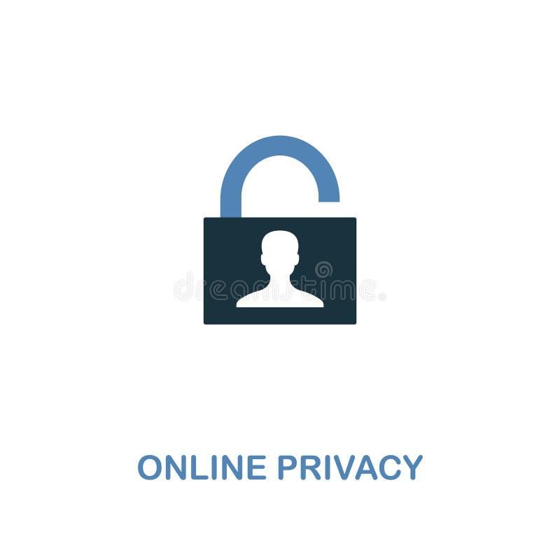 在两种颜色的网上保密性象 从互联网安全象汇集的优质设计 映象点完善的简单的图表在网上 向量例证