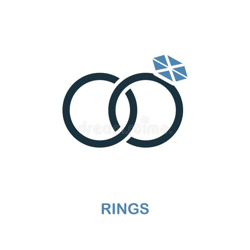 在两种颜色的设计的圆环象 简单的元素例证 从蜜月汇集的圆环创造性的象 对网络设计,应用程序, 库存例证