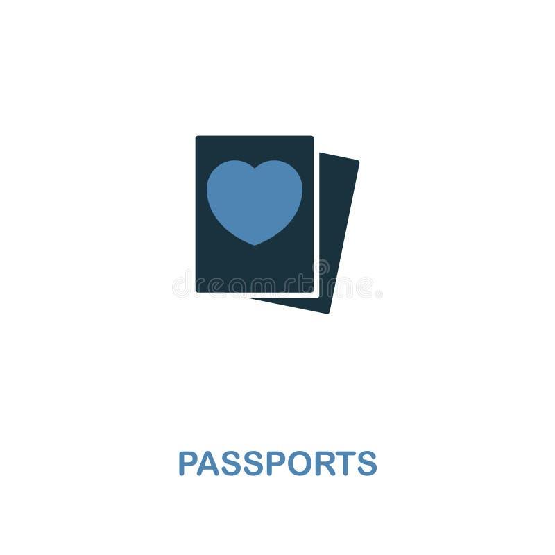 在两种颜色的设计的护照象 简单的元素例证 从蜜月汇集的护照创造性的象 对网络设计 库存例证