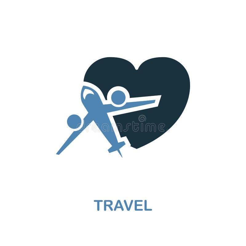 在两种颜色的设计的旅行象 简单的元素例证 从蜜月汇集的旅行创造性的象 对网络设计,应用程序 向量例证
