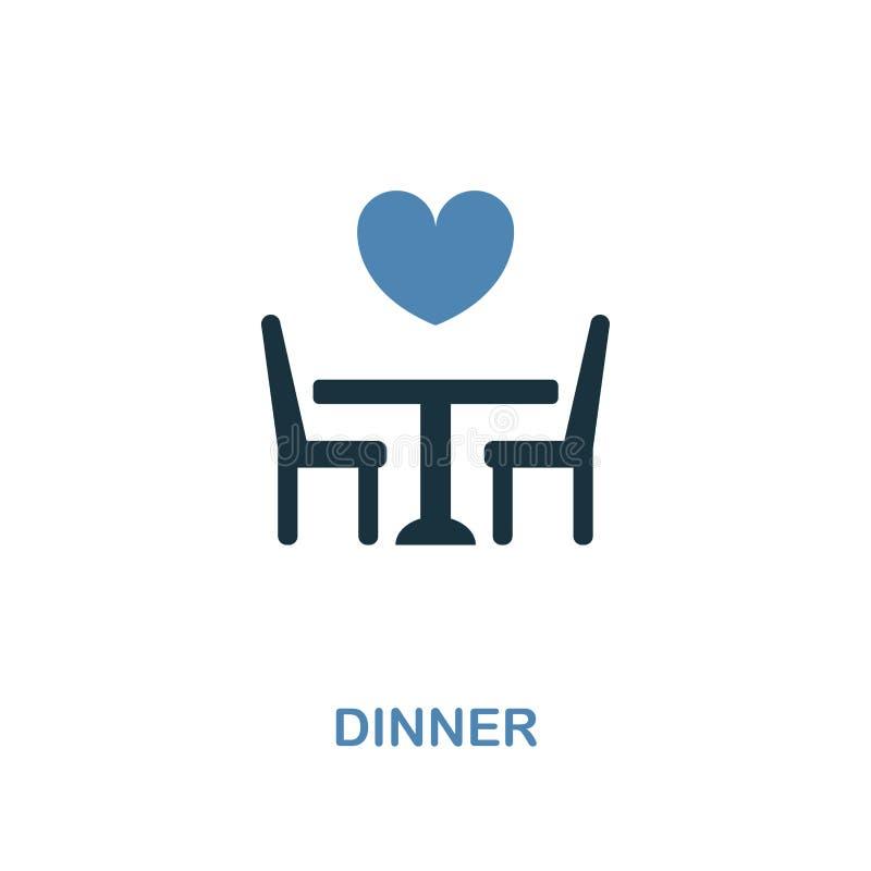 在两种颜色的设计的晚餐象 简单的元素例证 从蜜月汇集的晚餐创造性的象 对网络设计,应用程序 库存例证