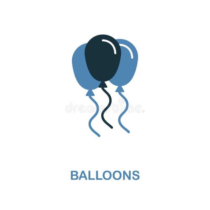 在两种颜色的设计的气球象 简单的元素例证 从蜜月汇集的气球创造性的象 对网络设计, 皇族释放例证