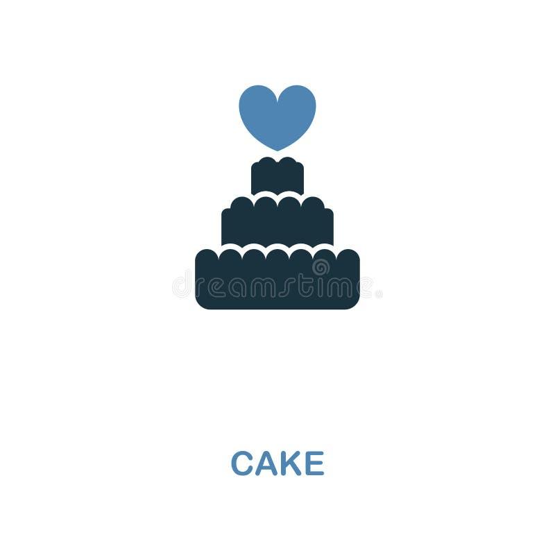在两种颜色的设计的蛋糕象 简单的元素例证 从蜜月汇集的蛋糕创造性的象 对网络设计,应用程序,如此 库存例证