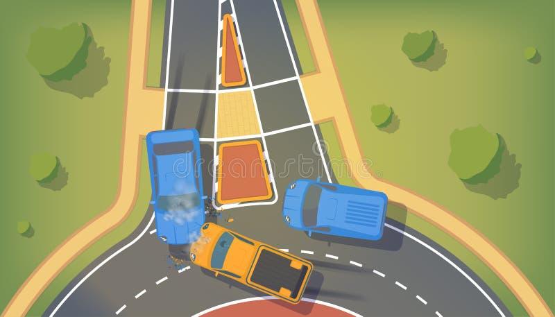 在两辆汽车之间的公路事故有被弄皱的翼的和防撞器,残破的窗口和刹车 向量例证