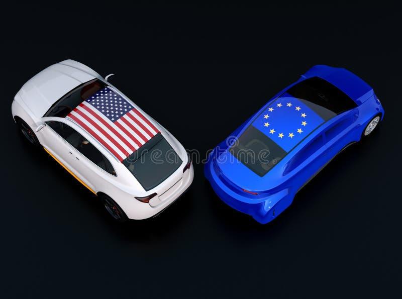 在两辆汽车的欧盟和美国旗子顶房顶汽车上面 库存例证