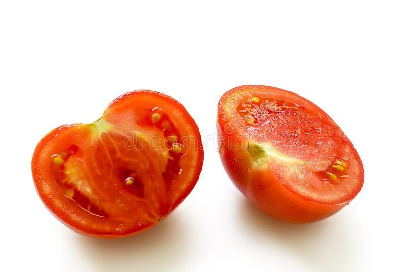 在两部分切的蕃茄 图库摄影