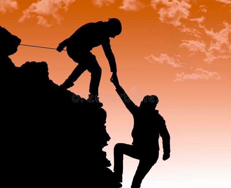 在两登山人之间的帮手 向量例证