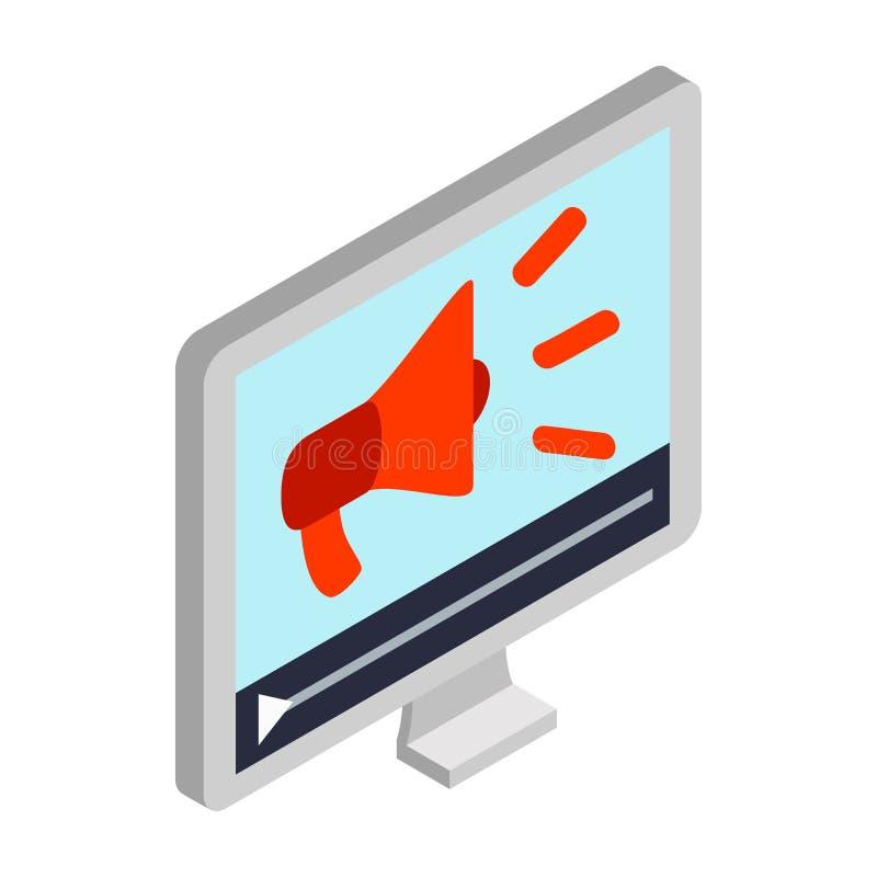 在个人计算机屏幕象,等量3d的扩音机样式 库存例证