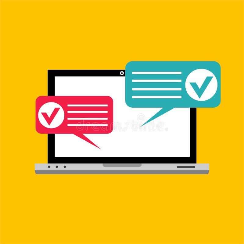 在个人计算机计算机例证,显示测验检查纸板料文件, concep的平的动画片显示器显示的网上形式调查 库存例证