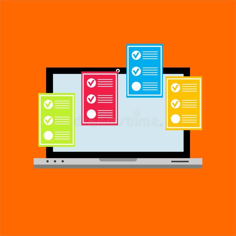 在个人计算机计算机例证,显示测验检查纸板料文件, concep的平的动画片显示器显示的网上形式调查 皇族释放例证