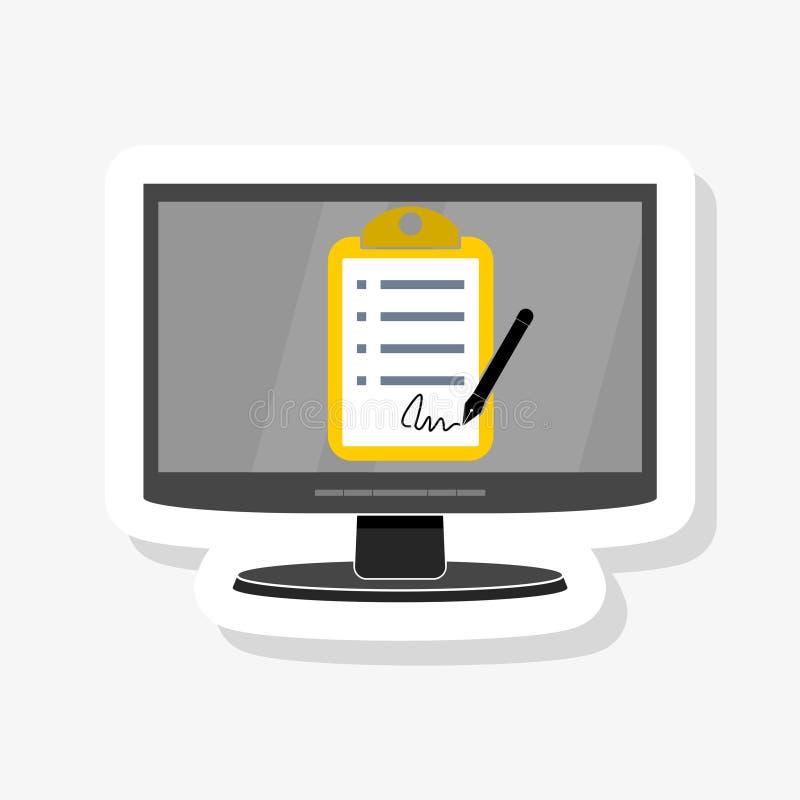 在个人计算机,计算机测验检查纸板料文件的网上形式调查 库存例证