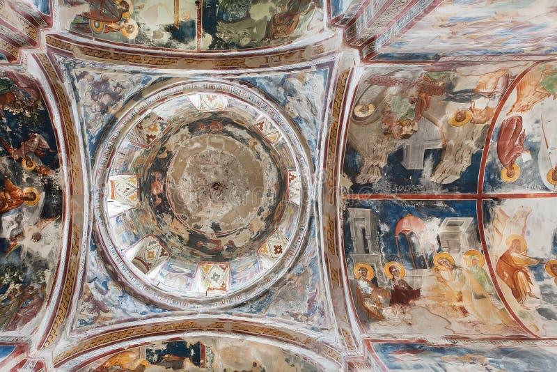 在中世纪大教堂Gelati墙壁和圆顶上的壁画在乔治亚 库存照片