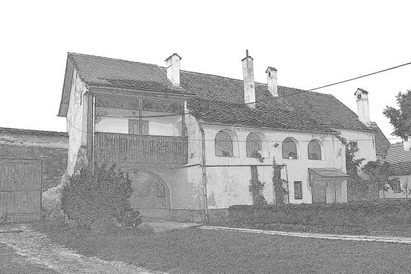 在中世纪被加强的教会里面克里斯蒂安的庭院,特兰西瓦尼亚 库存照片