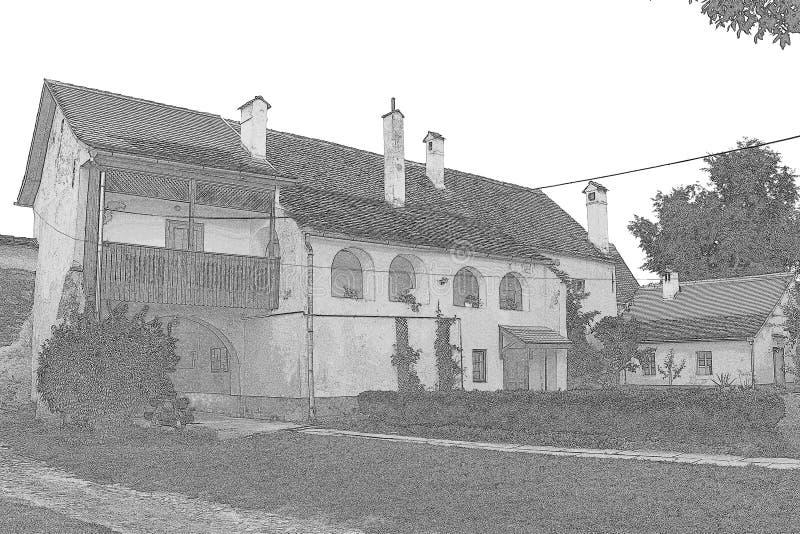 在中世纪被加强的教会里面克里斯蒂安的庭院,特兰西瓦尼亚 免版税图库摄影