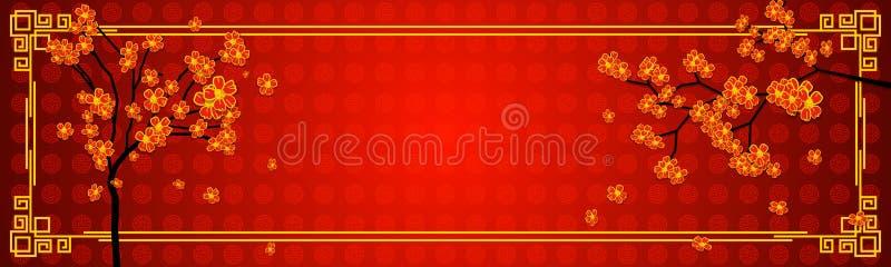 在中国东方样式的水平的空白的横幅 与一棵开花的佐仓树的设计模板在红色和金子颜色 向量例证