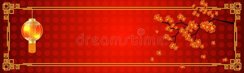 在中国东方样式的水平的空的横幅 与一棵开花的佐仓树的设计模板和在红色的中国手电和 库存例证