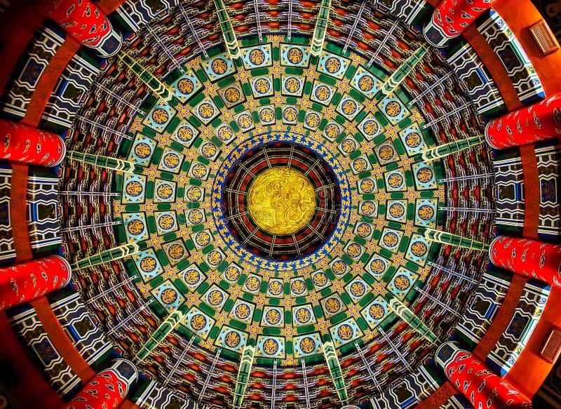 在中国亭子的装饰天花板 免版税库存照片