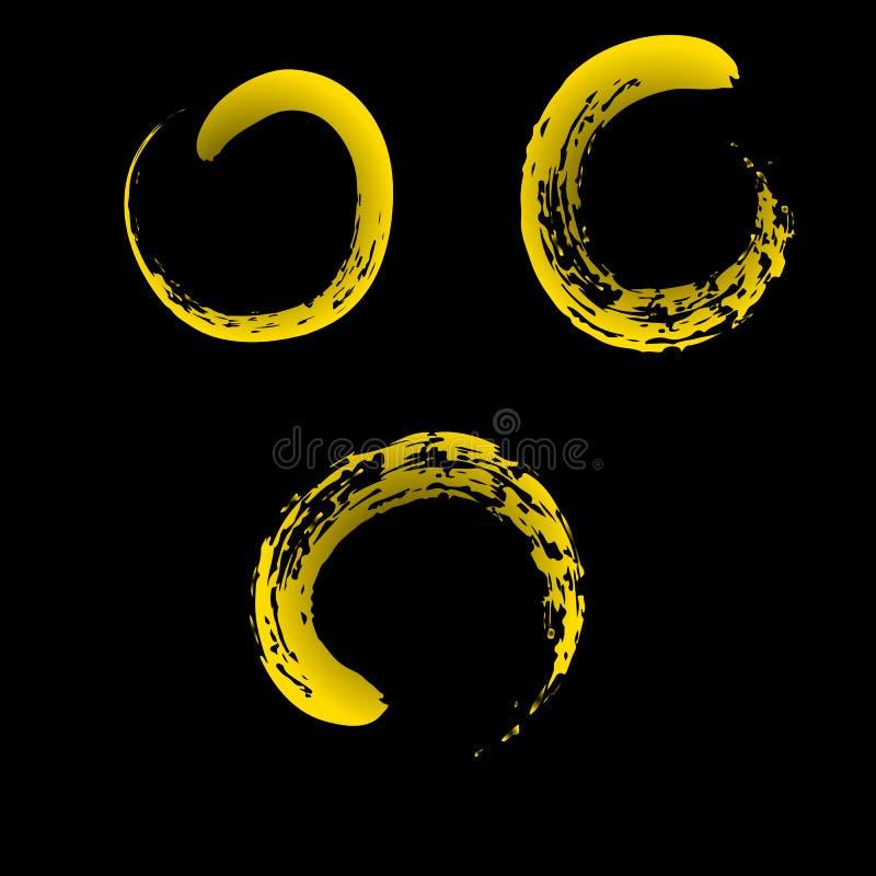 在中国人刷子黄色的禅宗标志 皇族释放例证