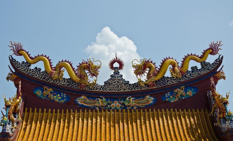 在中国寺庙的中国屋顶艺术 免版税图库摄影