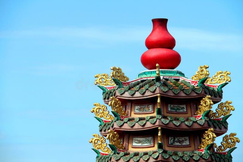 在中国寺庙的红色瓢雕象 库存照片