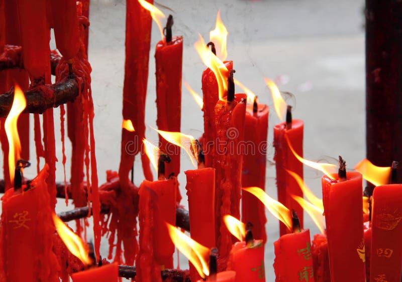 在中国寺庙的蜡烛 库存图片