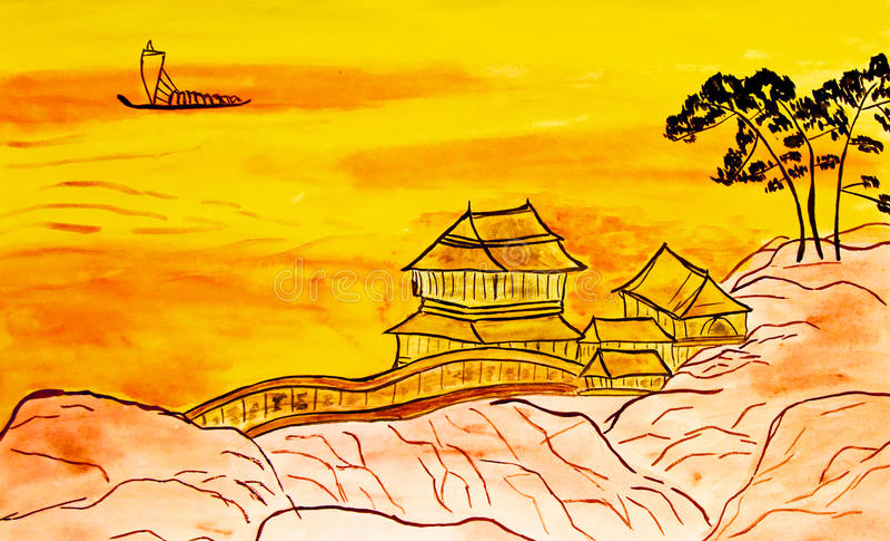在中国艺术的传统的手画图片 向量例证