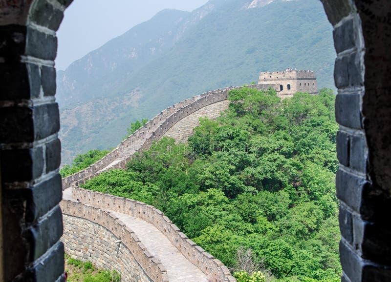在中国长城的晴天 免版税库存照片