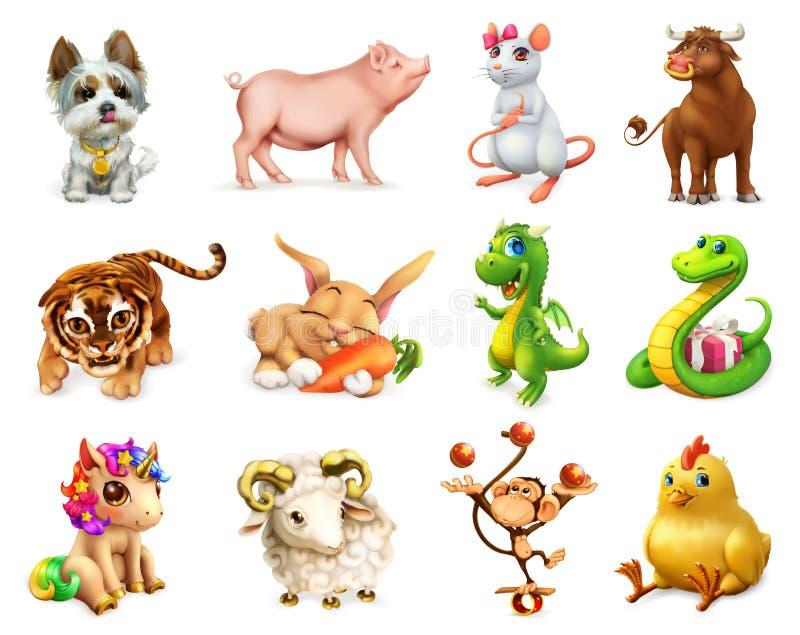 在中国黄道带的滑稽的动物,中国日历 纸板颜色图标图标设置了标签三向量 库存例证